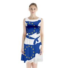 European Flag Map of Cyprus  Sleeveless Chiffon Waist Tie Dress