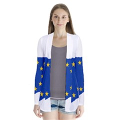 European Flag Map Of Cyprus  Drape Collar Cardigan