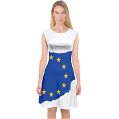 European Flag Map Of Cyprus  Capsleeve Midi Dress