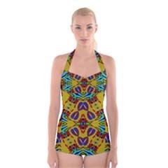 Uk,  (2),u Boyleg Halter Swimsuit