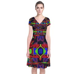 Uk,  (2),ujjoll Short Sleeve Front Wrap Dress