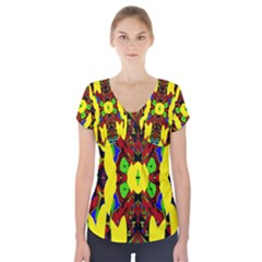 Uk,  (3),ujjollymky Short Sleeve Front Detail Top