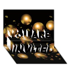 Golden balls YOU ARE INVITED 3D Greeting Card (7x5)