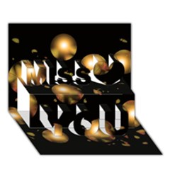 Golden balls Miss You 3D Greeting Card (7x5)