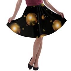 Golden balls A-line Skater Skirt