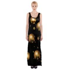 Golden Balls Maxi Thigh Split Dress