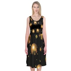 Golden balls Midi Sleeveless Dress