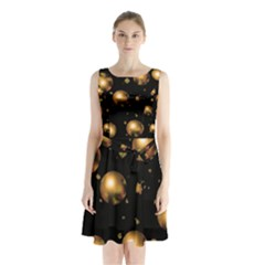 Golden balls Sleeveless Chiffon Waist Tie Dress