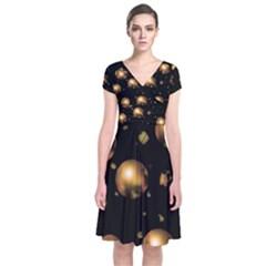 Golden balls Short Sleeve Front Wrap Dress
