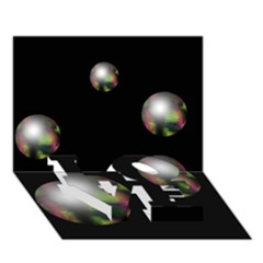 Silver pearls LOVE Bottom 3D Greeting Card (7x5)