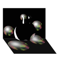 Silver pearls Apple 3D Greeting Card (7x5)
