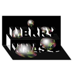Silver pearls Merry Xmas 3D Greeting Card (8x4)