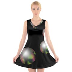 Silver pearls V-Neck Sleeveless Skater Dress