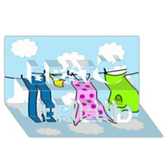 Laundry Best Friends 3D Greeting Card (8x4)