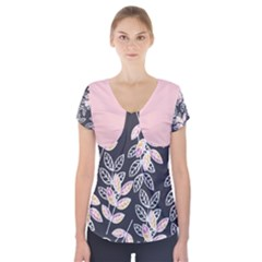 Winter Foliage Short Sleeve Front Detail Top