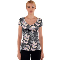 Winter Foliage Women s V-Neck Cap Sleeve Top