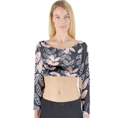 Winter Foliage Long Sleeve Crop Top (tight Fit)