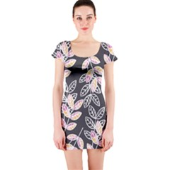 Winter Foliage Short Sleeve Bodycon Dress