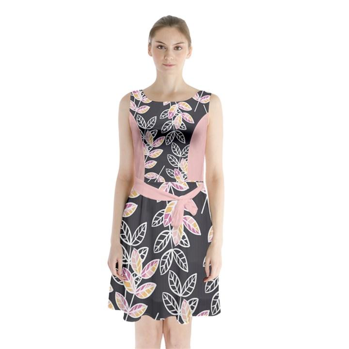 Winter Foliage Sleeveless Chiffon Waist Tie Dress