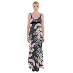 Winter Foliage Maxi Thigh Split Dress