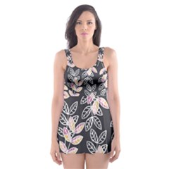Winter Foliage Skater Dress Swimsuit