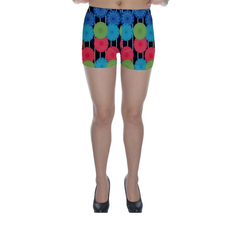 Vibrant Retro Pattern Skinny Shorts