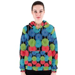Vibrant Retro Pattern Women s Zipper Hoodie