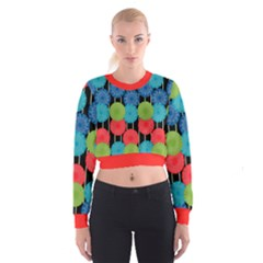 Vibrant Retro Pattern Women s Cropped Sweatshirt
