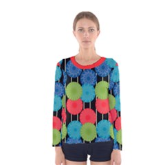 Vibrant Retro Pattern Women s Long Sleeve Tee