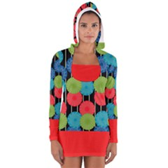 Vibrant Retro Pattern Women s Long Sleeve Hooded T Shirt