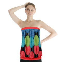 Vibrant Retro Pattern Strapless Top