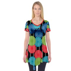 Vibrant Retro Pattern Short Sleeve Tunic
