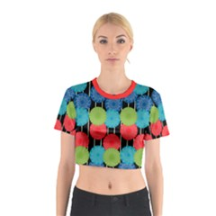 Vibrant Retro Pattern Cotton Crop Top