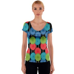 Vibrant Retro Pattern Women s V-Neck Cap Sleeve Top