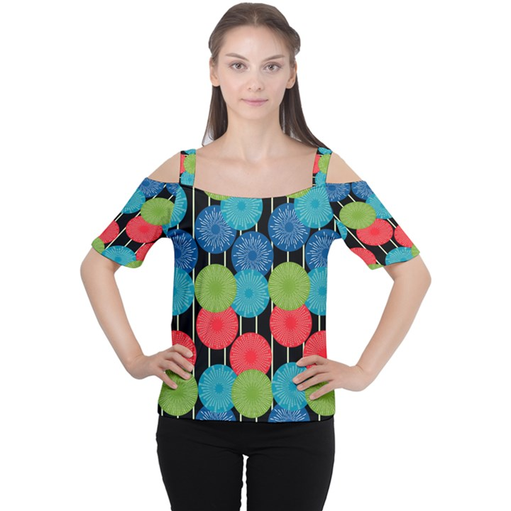 Vibrant Retro Pattern Women s Cutout Shoulder Tee