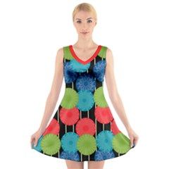 Vibrant Retro Pattern V Neck Sleeveless Dress
