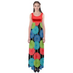 Vibrant Retro Pattern Empire Waist Maxi Dress