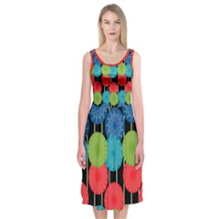 Vibrant Retro Pattern Midi Sleeveless Dress