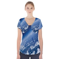 Space Photography Short Sleeve Front Detail Top