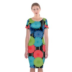 Vibrant Retro Pattern Classic Short Sleeve Midi Dress