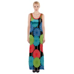 Vibrant Retro Pattern Maxi Thigh Split Dress