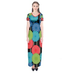 Vibrant Retro Pattern Short Sleeve Maxi Dress