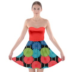 Vibrant Retro Pattern Strapless Bra Top Dress