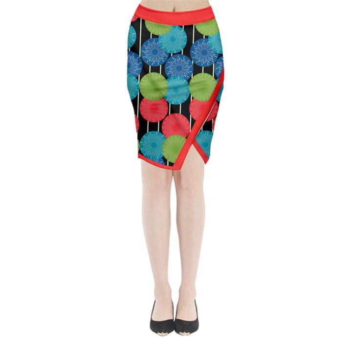 Vibrant Retro Pattern Midi Wrap Pencil Skirt