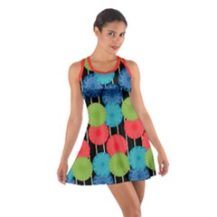 Vibrant Retro Pattern Cotton Racerback Dress