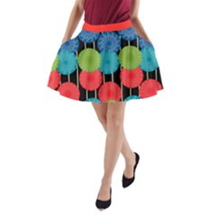 Vibrant Retro Pattern A-Line Pocket Skirt