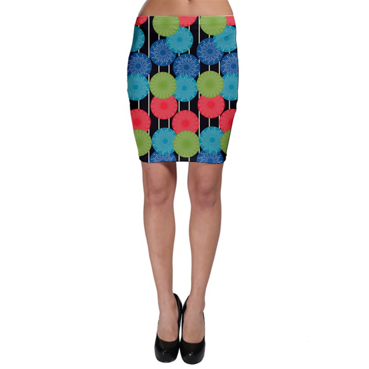 Vibrant Retro Pattern Bodycon Skirt
