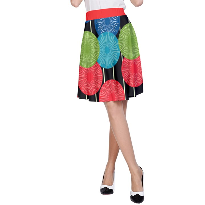 Vibrant Retro Pattern A-Line Skirt