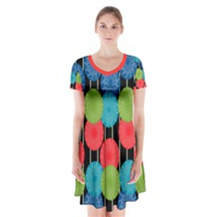 Vibrant Retro Pattern Short Sleeve V-neck Flare Dress
