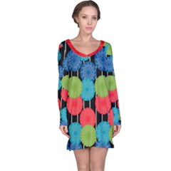 Vibrant Retro Pattern Long Sleeve Nightdress